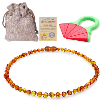 Baltic Ambers Teething Necklace For Babies (Unisex) (Cognac) - Anti Flammatory,Natural Certificated Oval Jewelry 14-33cm