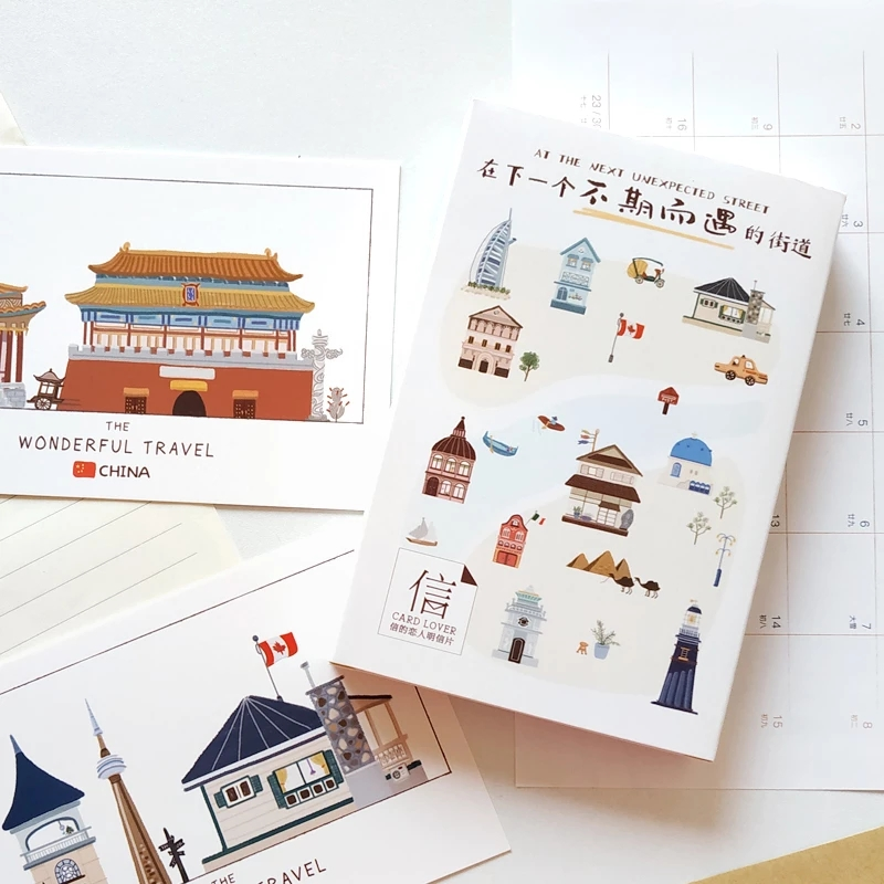 30 Sheets/Set At The Next Unexpected Street Postcards Greeting Wishing Gifts Cards Envelopes Card