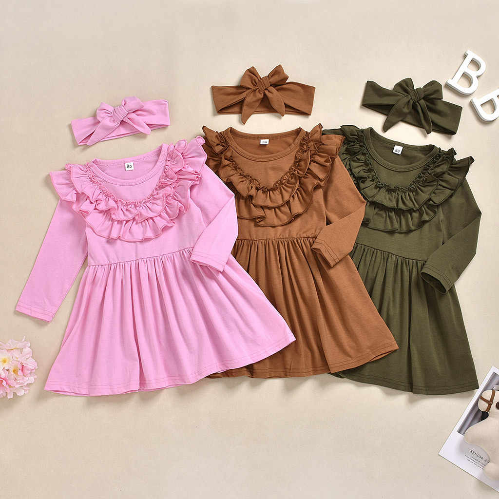 Toddler Girls Winter Dress For Kids Fashion Baby Girls Solid Ruffle Princess Dress Headband Outfits Clothes vestido infantil