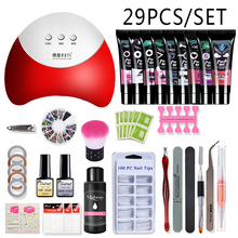 26pcs Nail Kit Poly Gel Set LED Lamp Nail