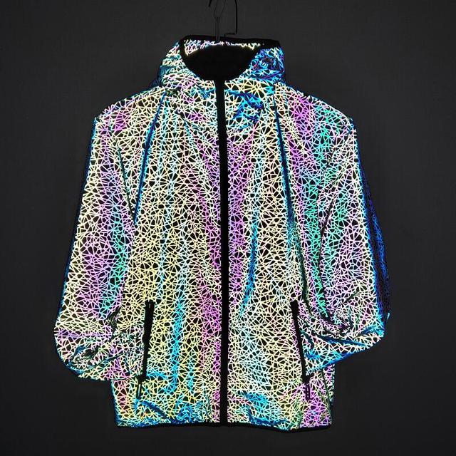 Men autumn winter colorful reflective jacket men windbreaker jackets hooded hip-hop streetwear night shiny coats mens jacket