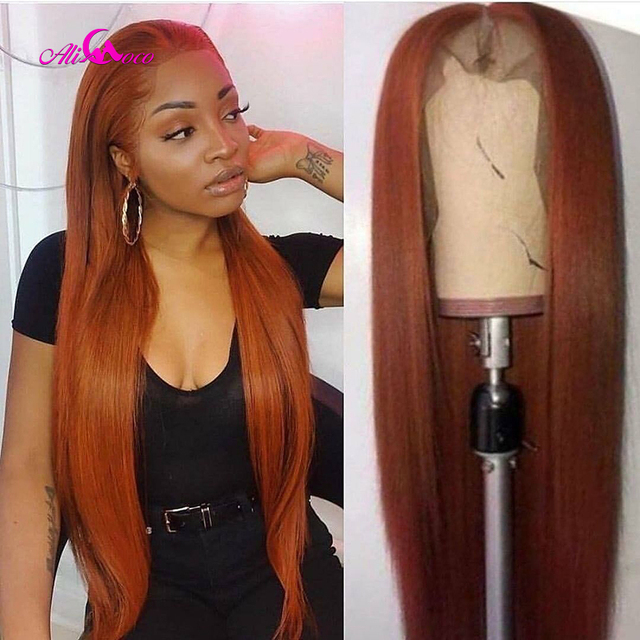 $ US $50.72 Ali Coco 13x4 Brazilian Straight Human Hair Wigs 28 30 inch 150%  Orange Ginger Color Brazilian Remy Long Wigs Pre Plucked