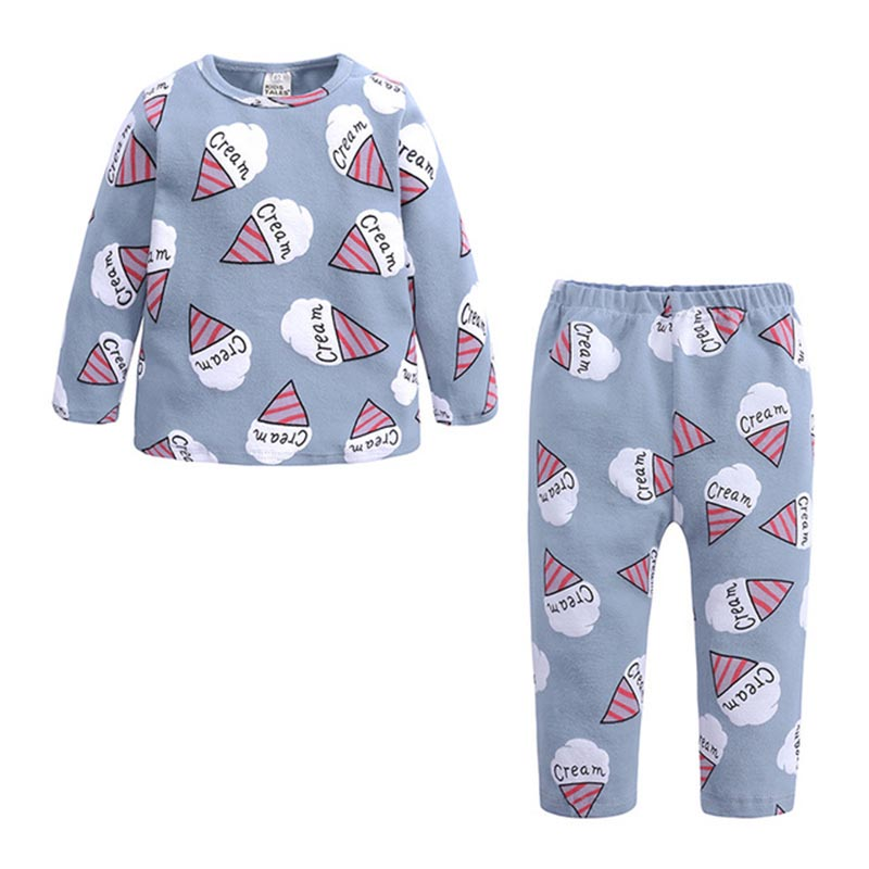 Spring Autumn New Knitted Cotton Homewear Suit Cute Printed 4 Colos 2PCS Girl Boy Long Sleeve Top Trousers Casual Pajama Outfit 4
