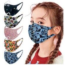 5 pces crianças gelo de seda boca máscara à prova de poeira à prova de vento máscaras protetoras reutilizáveis lavável respirável maks mascarillas
