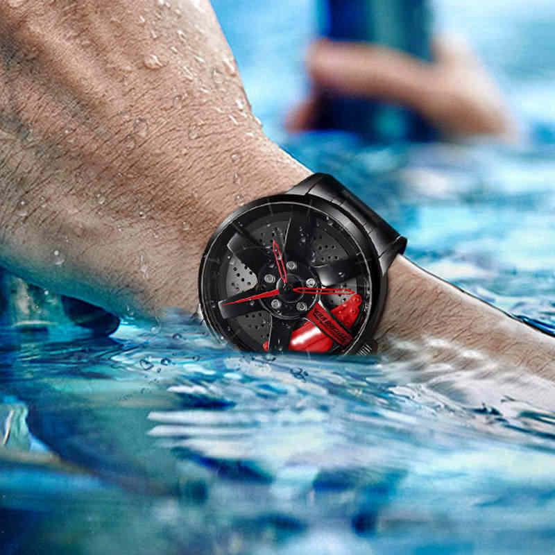 Nibosi relógio de pulso de roda hub, relógio de design personalizado, esportivo, para aro de carro, à prova d'água, criativo, relógio masculino 2020