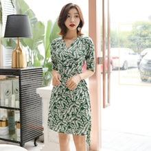 Women Wrap Short Dresses Half Sleeve V-neck Lace-up Slim Waist Bohemian Beach Floral Green Elegant Ladies Dress Clothing все цены