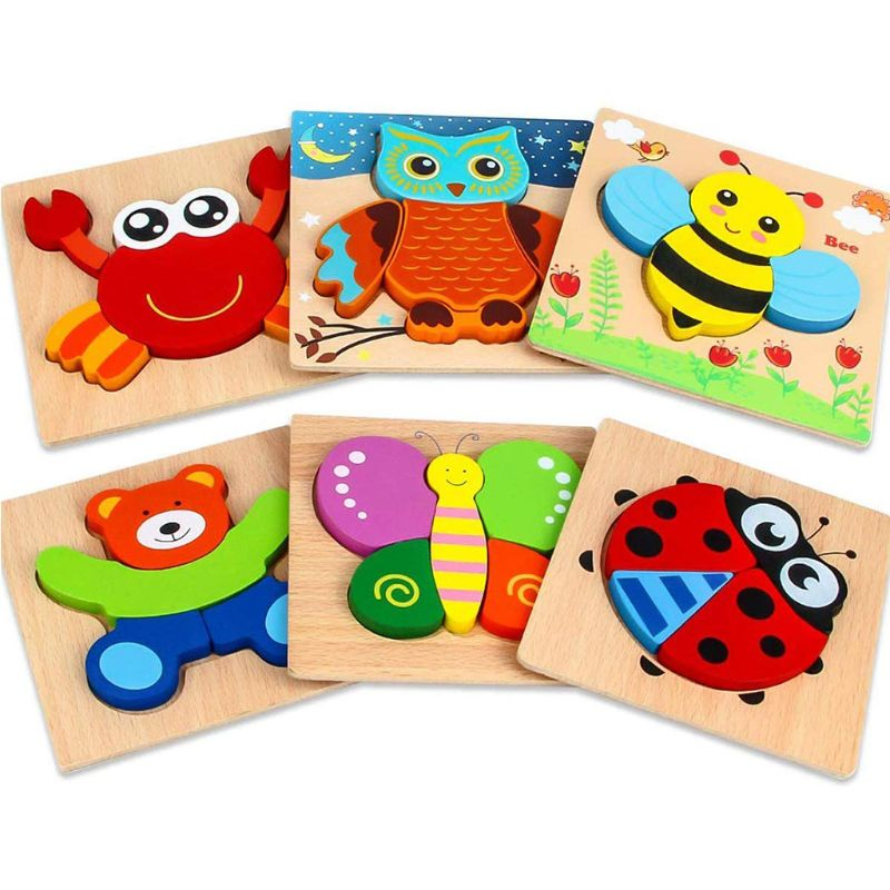 6 Pack Wooden Animal Jigsaw Puzzle Toys Hand Grab For Kid Early Educational Toys Durable And Perfectly-sized Annimal Puzzle