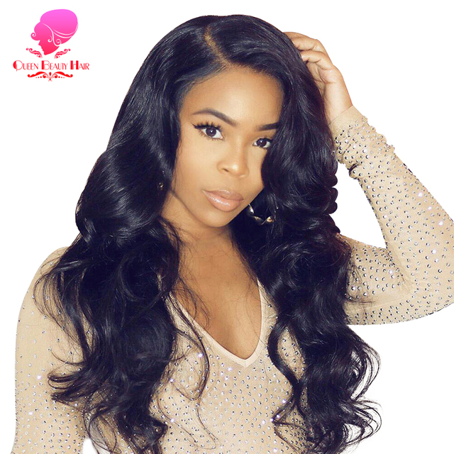 QUEEN BEAUTY Lace ด้านหน้า Wigs Body WAVE บราซิล Remy Hair 13x4 ความหนาแน่น 150% ครึ่งวิกผมกับ NATURAL Hairline Glueless