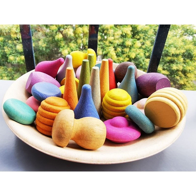 6pcs Children Wooden Rainbow Blocks Loose Parts Toy Mushrooms Honeycomb Droplets Tree Cones Mini Cones Building Blocks