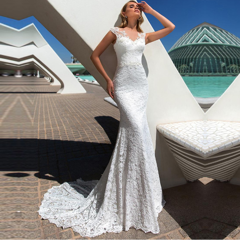 Tulle O-neck A-line Cap Sleeve Wedding Dress With Lace Appliques Bridal Gowns Sashes Vestido De Noiva Custom Made Floor Length