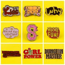 Badge Dungeon Master Brooch Jewelry Pins Lapel-Pin Letter Funny Friends Enamel Gift