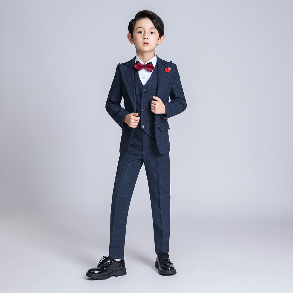 YuanLu New Boys Suits Wedding Party Blazer Jacket Kids Suits Formal Costume Lattice Children Clothes British Style Gentleman