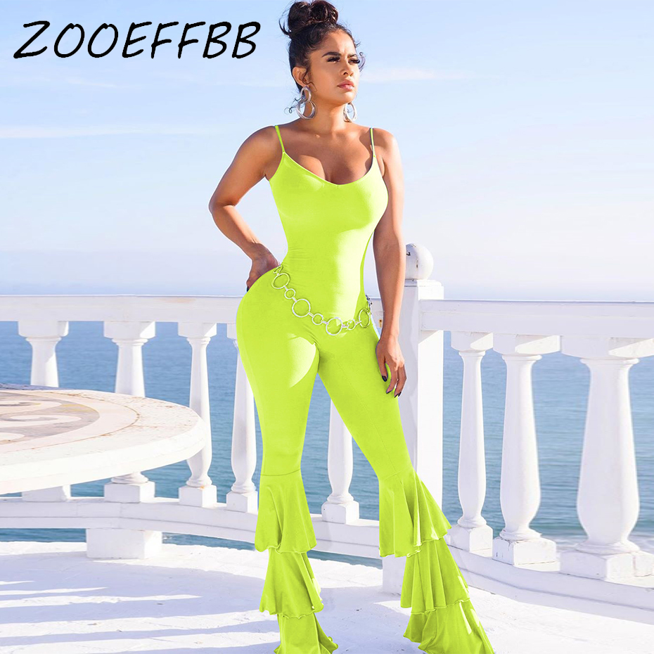 ZOOEFFBB Spaghetti Strap Jumpsuit Women <font><b>Festival</b></font> Clothing <font><b>Sexy</b></font> Neon Green Overalls Cascading Ruffle Flare Pants Bodycon Jumpsuit image