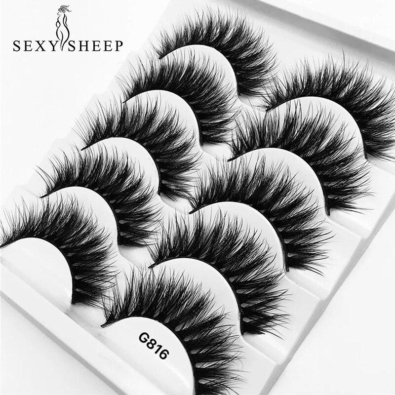 5 Pairs Luxurious Mink Hair False Eyelashes Thick Curled Full Strip Lashes Eyelash Extension Fashion Women Eyes Natural Makeup