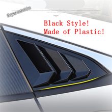 цена на Lapetus Rear Side Vent Window Louver Sun Shade Cover Trim Fit For Honda Civic 10th Sedan 2016 - 2019 Black Carbon Fiber Look