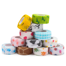Wrap Stretch Cohesive-Tape Self-Adhesive for Person Pet-Cat-Dog 1inch X 5-Yards 12-Rolls