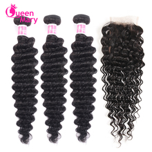 Deep-Wave-Bundles Closure Human-Hair-Extensions Lace Queen Brazilian Mary Non-Remy