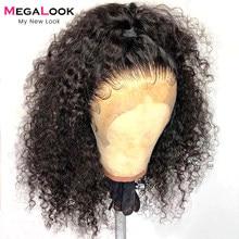 13x4 peruca dianteira do laço encaracolado peruca de cabelo humano 180 densidade glueless preplucked 30 Polegada perucas para mulheres megalook 13*4 peruca frontal do laço