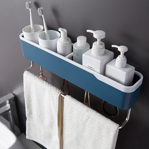 Image 2 - Punch Free Bathroom Organizer Shelf Household Items Bathroom Accessories Bath kitchen Towel Holder Cosmetic Shampoo Storage Rack