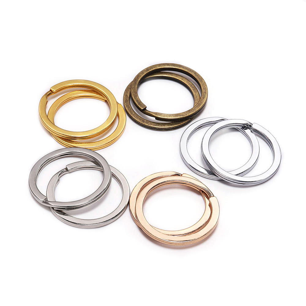10Pcs/Lot 25 28 30mm Gold Silver Round Key Ring Llaveros Clasp Findings Key Chain Split Ring Plated Key Ring For Jewelry Making