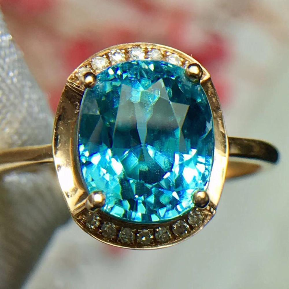 Fine Jewelry Real 18k Rose Gold 100 Natural Blue Zircon Gemstone 5ct 18k Gold Diamonds Stone Fine Rings For Women Jewelries Rings Aliexpress