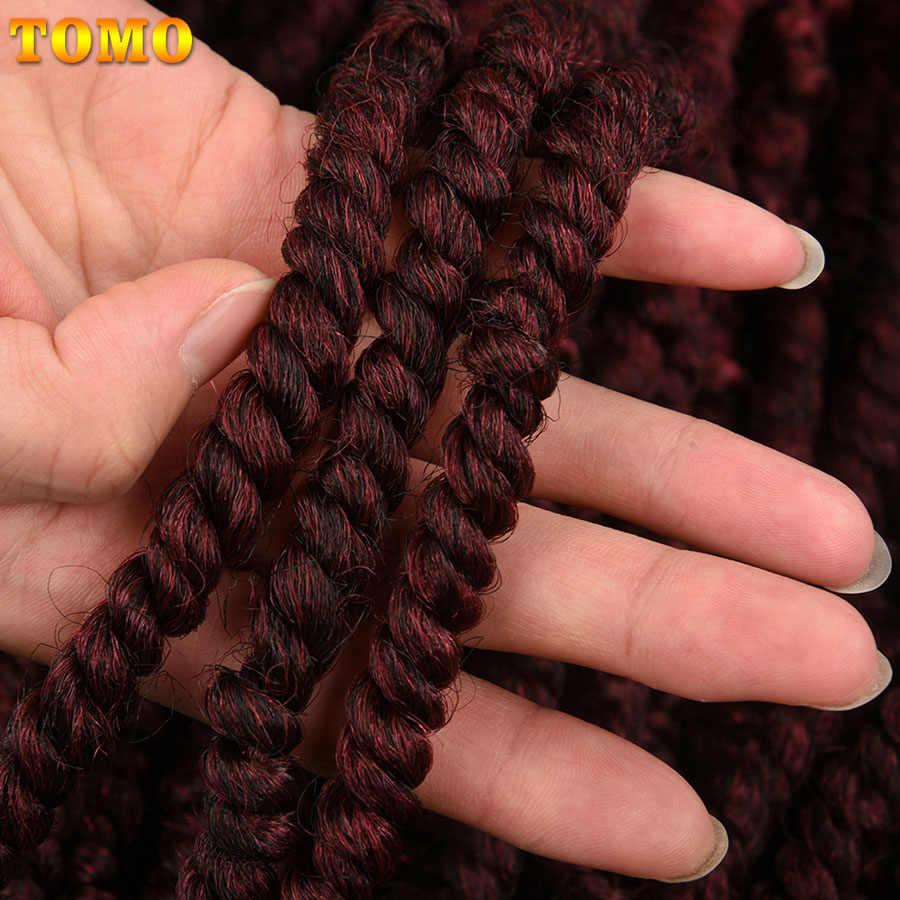 """TOMO largo 18 """"Fluffy primavera giro Crochet Braing pelo 12Strands Ombre Rojo Negro marrón extensiones de cabello sintético para las mujeres"""