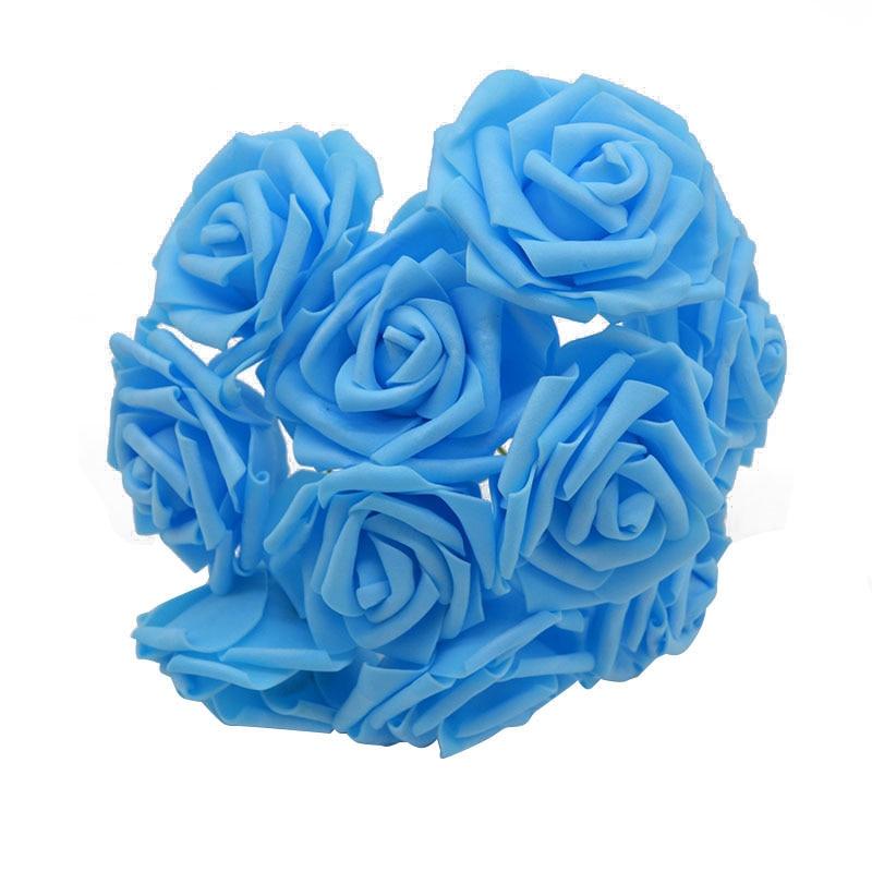 10 шт. 8 см большие ПЭ пенные цветы искусственные розы цветы Свадебные букеты Свадебные украшения для вечеринки DIY Скрапбукинг Ремесло поддельные цветы - Цвет: blue no leaf