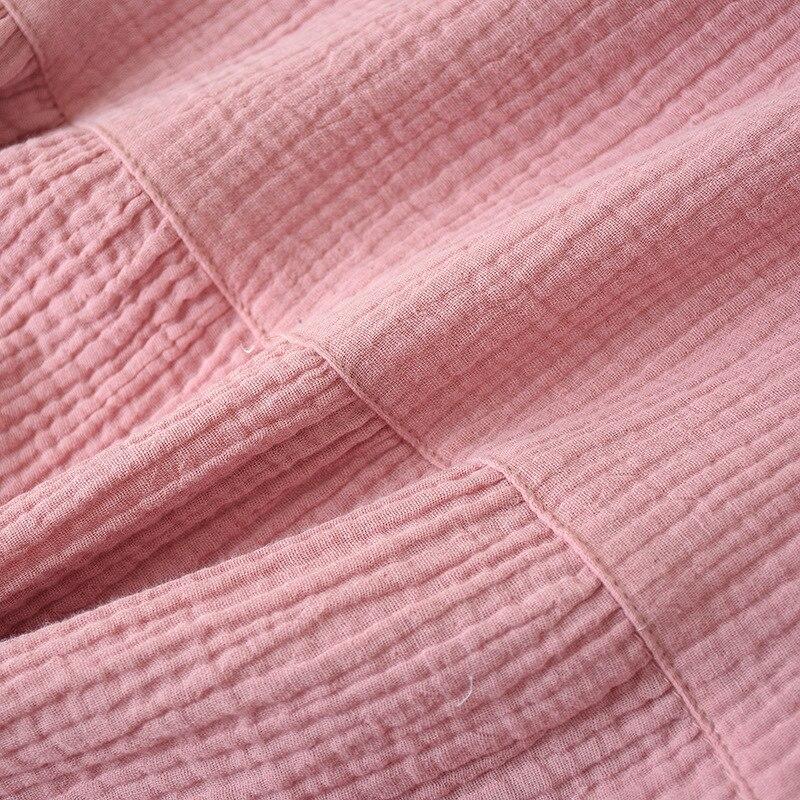 Однотонная ночная рубашка с коротким рукавом из чистого хлопка и крепа, женское летнее тонкое марлевое платье в Корейском стиле