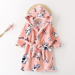 Children's Nightgown 2020 Autumn Winter New Boys Girls Flannel Pajamas Kids Cartoon Printing Warm Add Cashmere Hooded Sleepwear
