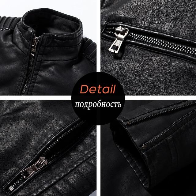 Luulla Men Spring Brand New Causal Vintage Leather Jacket Coat Men Outfit Design Motor Biker Zip Pocket PU Leather Jacket Men 5
