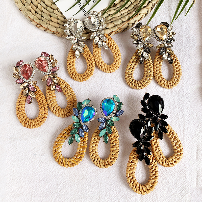 Heart Rattan knit Wooden Drop Earrings Vintage handmade Leaf Flower Crystal Dangle Earrings for Women Jewelry Christmas gift