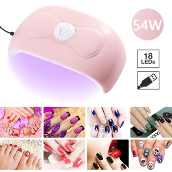54W UV Nail Lamp Auto Sensor 18 LED Lights Gel Acrylic Nail Polish Dryer Smart Fast Drying Machine For Manicure Gel Nail Lamp image