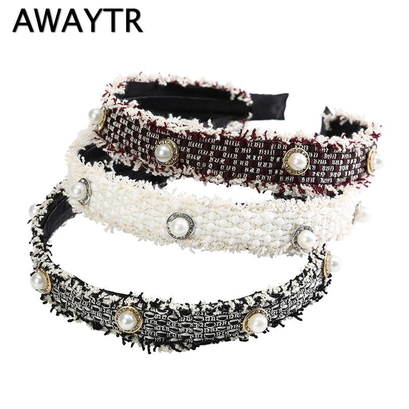 AWAYTR 1PC Pearls Hairband For Women Headband Tassel Turban Fashion Female Hair Hoop Girls Hair Accessories Female Headwear