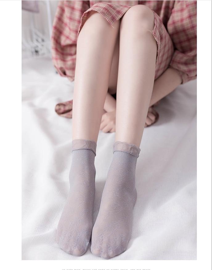 Hot Sale! High Quality Women Velvet Socks Female Socks Summer Thin Silk Transparent Ankle Sox Women's Socks Meias