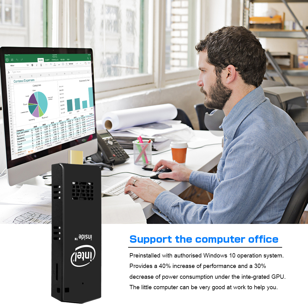 Cheap Price W5 Pro Cooling Fan Intel Cherry Trail Quad-Core Z8350 2GB 32GB Pocket Computer MINI PC Stick