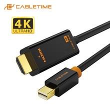 Cabletime mini displayport para hdmi cabo 4k/hd thunderbolt 2 mini cabo adaptador de porta de exibição para macbook ar mini dp a hdmi c054