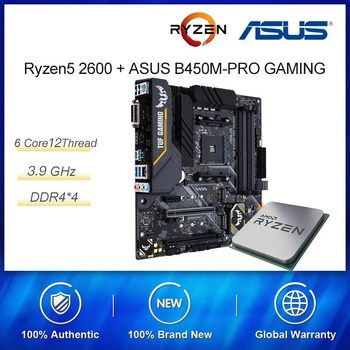 For New Kit AMD Ryzen R5 2600 3.6 GHz 6-Core 12-Thread CPU Process ASUS TUF B450M-PRO GAMING Motherboard Socket AM4 DDR4 image