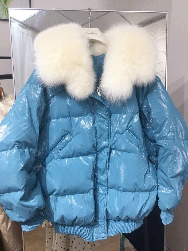 White Duck Down Jacket Women Puffer Jacket Big Fur Collar Winter Coat Women Down Coat Warm Parka Chaqueta Mujer YY1465