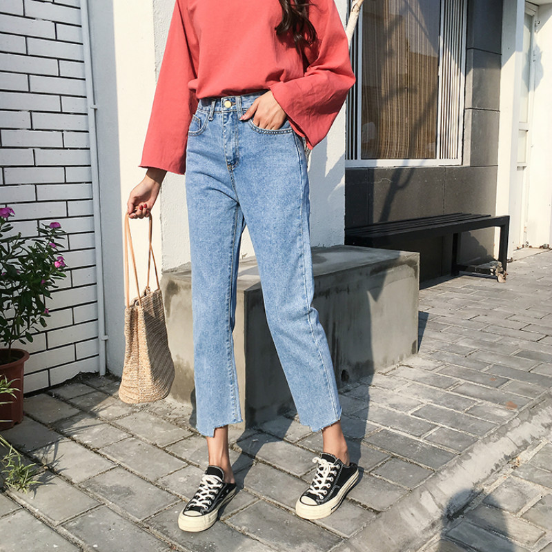 Image 4 - Jeans Women Chic Loose Simple Korean Style Casual Daily Autumn All match High Quality Trendy Student Pockets Womens Jean 2020 BFJeans   -
