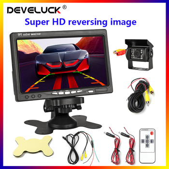 цена на 7 Color Wired Car monitor TFT LCD Rear View Camera Two Track rear Camera For Truck Bus Parking Rear view System Backup Camera