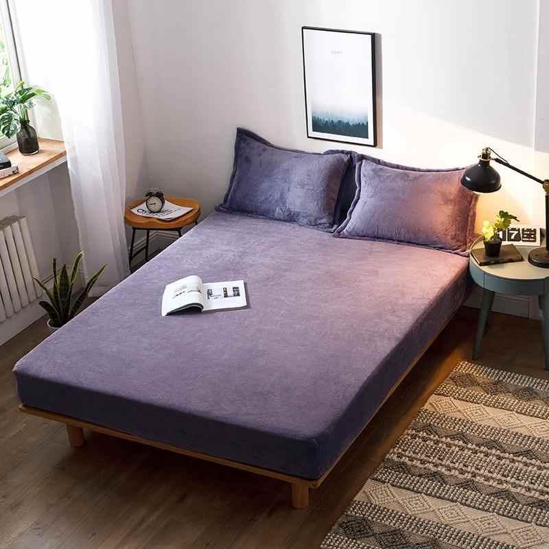 Inverno quente engrossado protetor de colchão de flanela capa cama macia folha equipada com elástico colcha anti-ácaro à prova de poeira