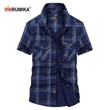Short Tops Plaid Men's Casual Summer Man VINRUMIKA Brand Cotton Army-Green Blue Khaki