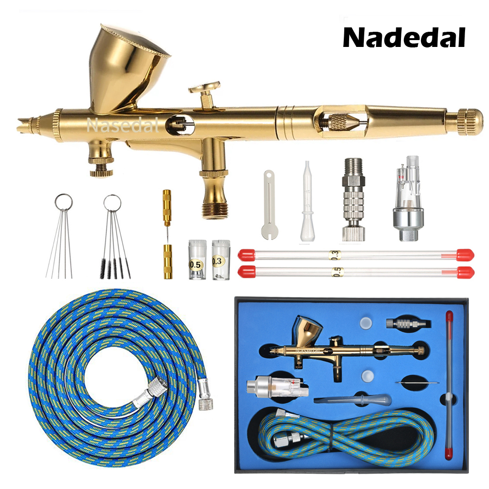 Nasedal Gravity Dual-action Mini 9cc Airbrush Gold Paint Nail Spray Gun Makeup Airbrush Face Tattoo Art Cake Painting Tool Kit