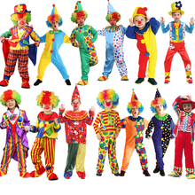 Halloween For Kids Circus Clown With Wig Shoes Hat Costume Naughty Harlequin Fancy Fantasia Infantil Cosplay Boys Girls Dress Up