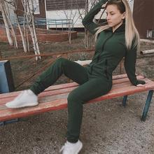 2019 New Arrival Solid Jumpsuit Women Casual Long Sleeve Playsuit Fashion Loose Hooded Trousers Rompers