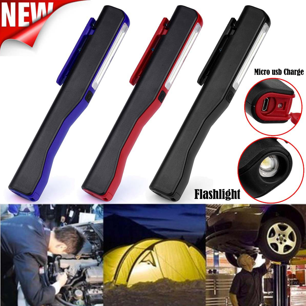 Lighting-Sensor Led Hand-Torch Work-Inspection Rechargeable Cob Camping 2in1