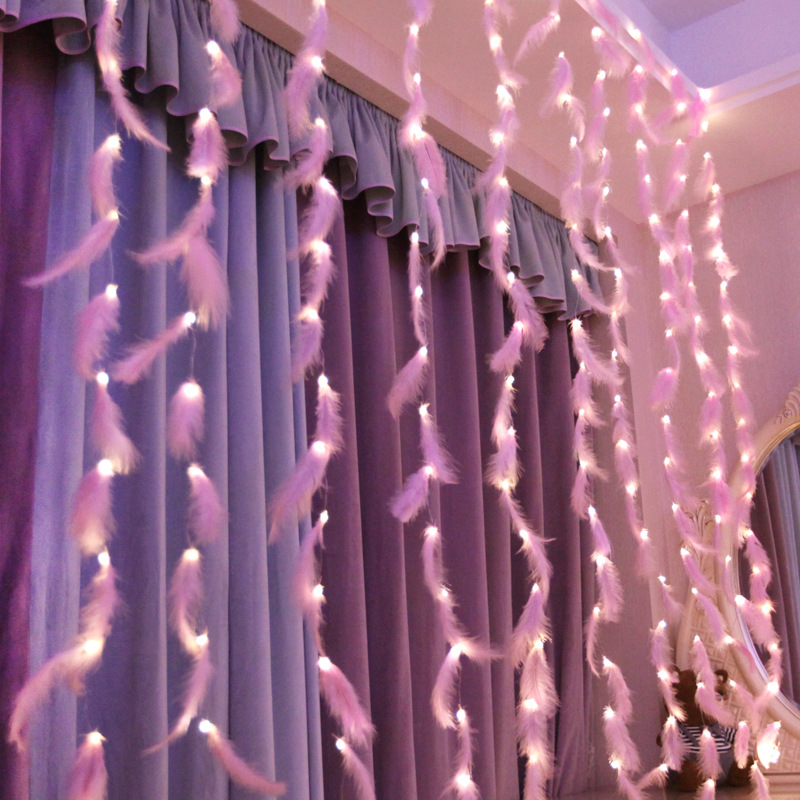 Feather String Led Lights Decoration Fairy String Light AA Battery Powered Remote Control Decor Bedroom Living Room Curtain