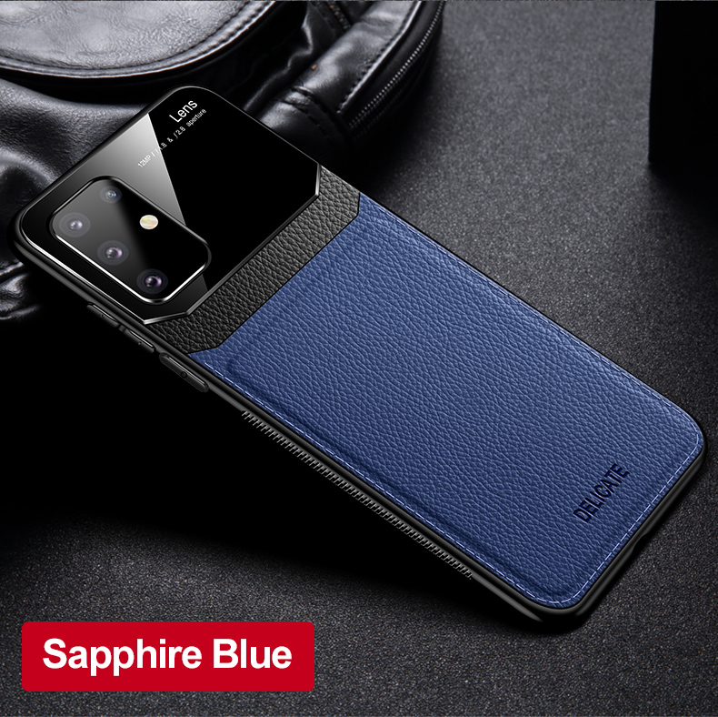 PC Grained Leather Skin-pattern Retro Bumper Back Phone Case for Samsung S20 Plus 13