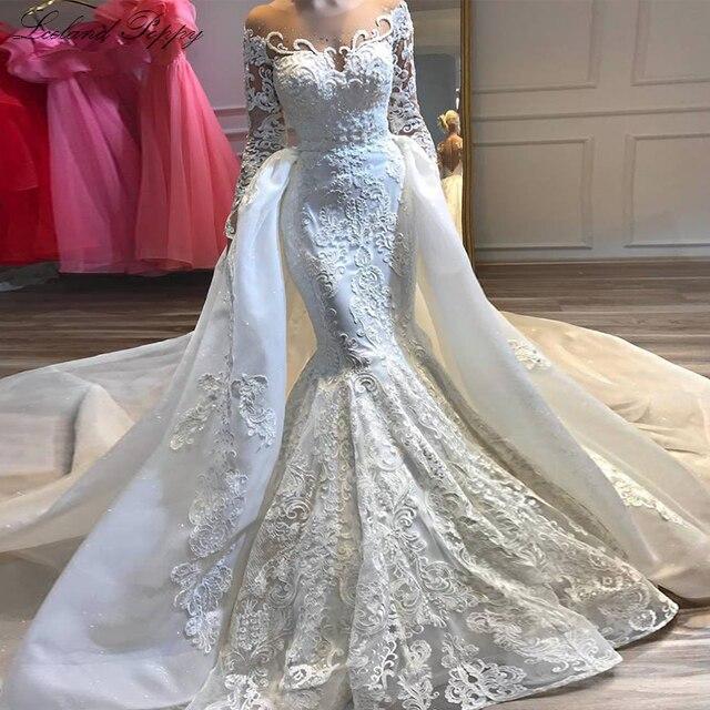 高級アップリケ人魚のウェディングドレス 2020 スクープネックロングスリーブビーズ着脱式の列車のブライダルドレス Vestido デ noiva
