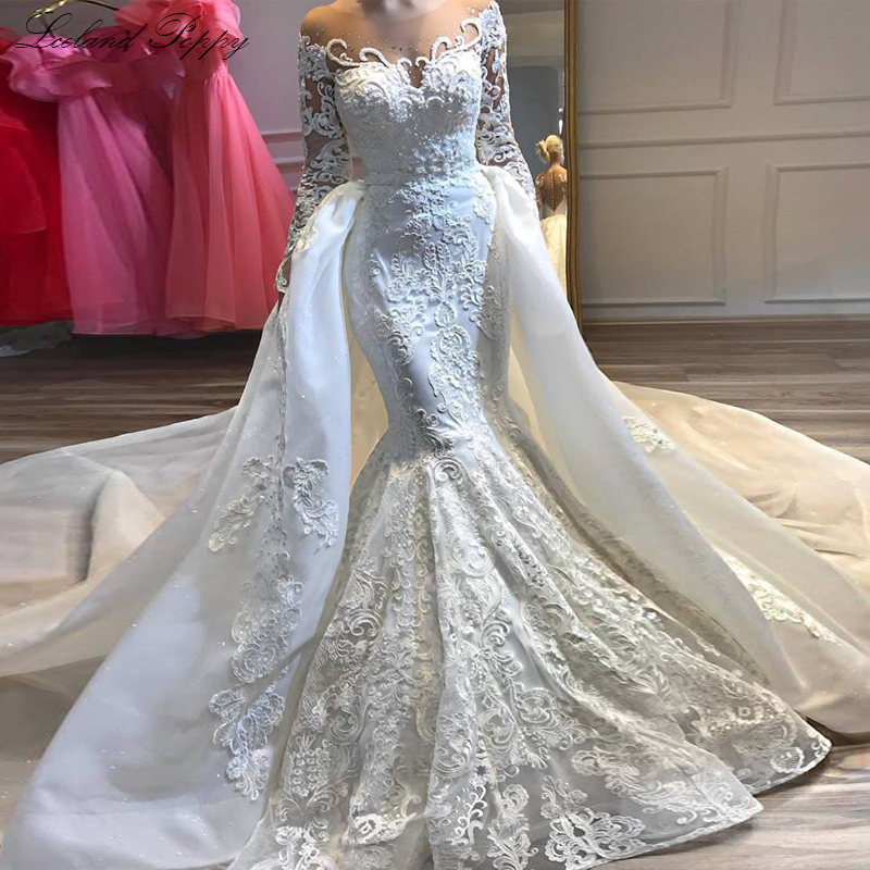 Luxury Appliques Mermaid Wedding Dresses 2020 Scoop Neck Long Sleeves Beaded Detachable Train Bridal Dress Vestido De Noiva